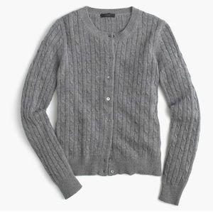 J. Crew Cambridge Cable Knit Wool Cardigan Sweater